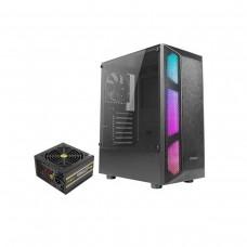 Antec NX250 Tempered Glass RGB Mid-Tower ATX Case with Antec VP Plus Series VP550P Plus 80 PLUS ATX PSU, 550w — Black