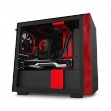 NZXT H210 Tempered Glass Mini ITX Case — Matt Black and Red