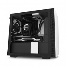 NZXT H210 Tempered Glass Mini ITX Case — Matt White and Matt Black