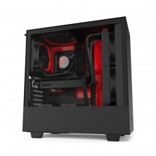 NZXT H510i RGB Tempered Glass Mid Tower ATX Case — Matt Black and Red
