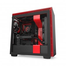 NZXT H710 Tempered Glass Mid Tower E-ATX Case — Matt Black and Red
