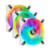 Corsair iCUE QL120 RGB LED PWM Fan, White Frame, 3-Pack with Lighting Node CORE Controller, 120mm Fan