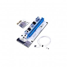 PCI-Express Riser Ver 008S, PCI-Express x16 to PCI-Express x1, Molex / SATA / PCIe Power Connector, Unbranded