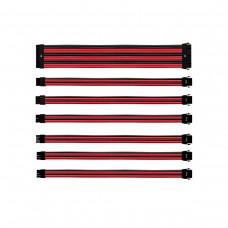 Cooler Master Colored Extension Cable Kit with Individually Sleeved Cables, Generic, Red and Black